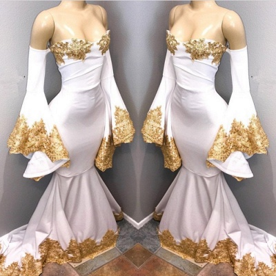Long sleeve prom dress with gold appliques, mermaid 2020 evening dress BA8276_3
