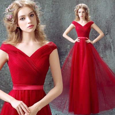 Newest Red Off-the-shoulder A-line Prom Dress 2020 Lace-up Floor-length_3