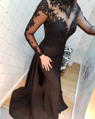 Modern Black Lace Long Sleeve Evening Dress | Detachable Train Prom Gown_5