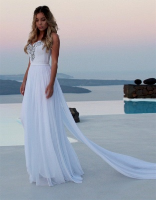 Elegant Sweetheart Sleeveless 2020 Prom Dress   White A-Line Evening Gowns With Panel Train BC1798_7
