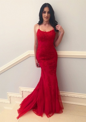 2020 Sexy Spaghetti-Straps Sleeveless Prom Dress | Mermaid Lace Applique Evening Gown On Sale_2