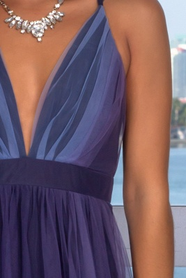 Sexy Sleeveless Deep V-Neck Evening Gowns   Criss Cross Strings Tulle Prom Dress With Zipper BC1370_5