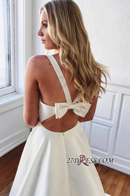 V-neck Bowknot A-line Charming Wedding Dresses