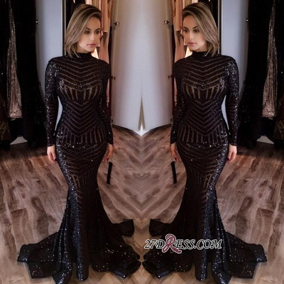Sequined Black Mermaid High-Neck Sexy Long-Sleeves Prom Dress jj0085_2