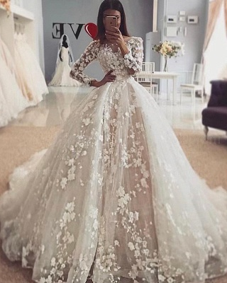 Delicate Floral  Appliques Puffy Ball Gown Long Sleeve Wedding Dress_2