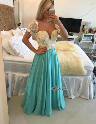 A-line Lace Pearls Short-Sleeve Chiffon Modest Prom Dress_2