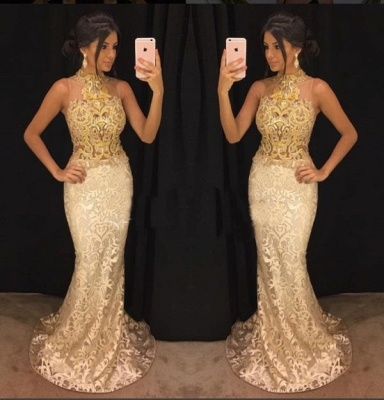 Elegant High-Neck Lace Evening Gowns   2020 Mermaid Prom Gowns_2