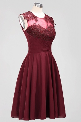 2020 Chic Crew Sleeveless Ruched Short Prom Dress | Lace Appliques Zipper Evening Party Gown On Sale_3