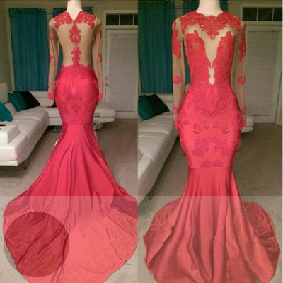 Glamorous Long Sleeve Red Prom Dress Mermaid With Lace Appliques On Sale BA8522_3