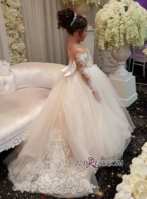 Long-Sleeve Lace Gown Romantic Ball 2020 Flower Girls Dresses BA7399