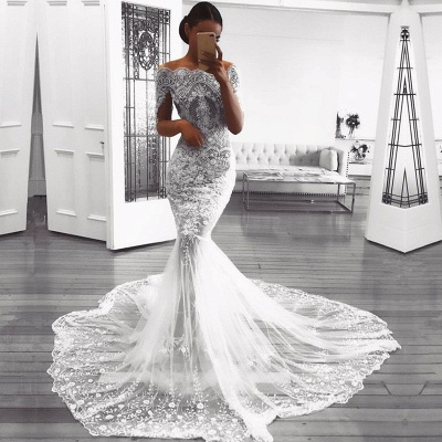Glamorous Long Sleeve Lace Wedding Dress | 2020 Mermaid Bridal Gowns On Sale BC0823_3