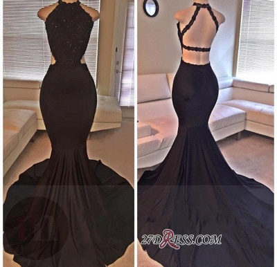 Backless Mermaid Lace Sleeveless Black Long Prom Dresses ly149_2