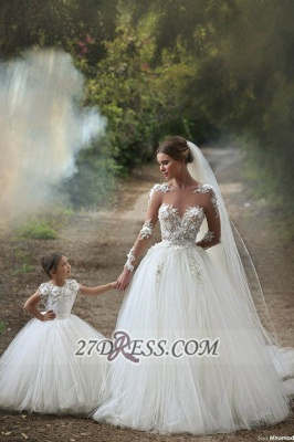 Long Sleeves Lace Appliques Wedding Dress Tulle Beautiful Mother and Daughter Dress_1