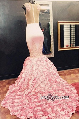 Gorgeous Illusion Appliques Flowers-Bottom Pink Sleeveless Lace Mermaid Prom Dress_1