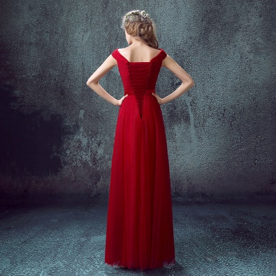 Newest Red Off-the-shoulder A-line Prom Dress 2020 Lace-up Floor-length_5