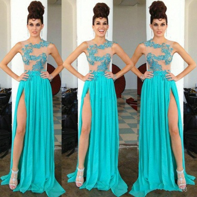 Modern Chiffon Appliques Sequined 2020 Prom Dress Front Split Sweep Train_4