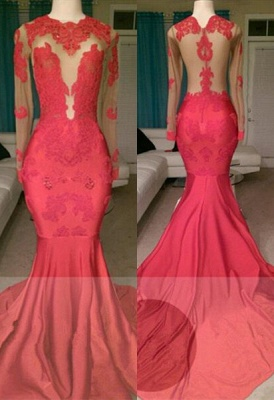 Glamorous Long Sleeve Red Prom Dress Mermaid With Lace Appliques On Sale BA8522_1