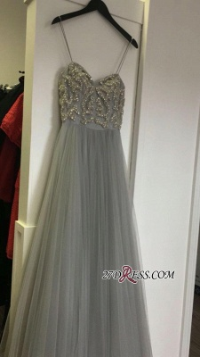 2020 Sleeveless Beads A-line Spaghetti-Strap Tulle Newest Prom Dress_1