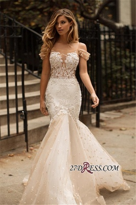 Tulle Newest Off-the-Shoulder Appliques Mermaid Wedding Dress_2