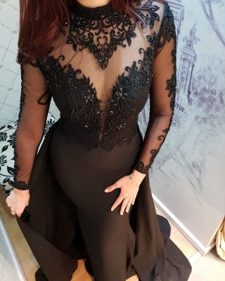 Modern Black Lace Long Sleeve Evening Dress | Detachable Train Prom Gown_2