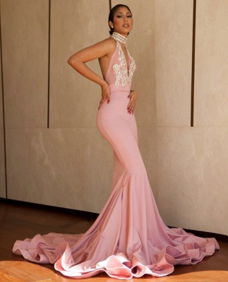 Pink Mermaid 2020 Prom Dress   V-Neck Lace Evening Gowns BA8862_3