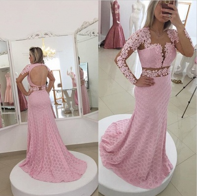 Glamorous Pink Mermaid Lace Appliques Prom Dress 2020 Open Back_2