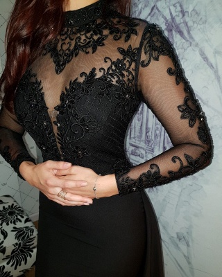 Modern Black Lace Long Sleeve Evening Dress   Detachable Train Prom Gown_4