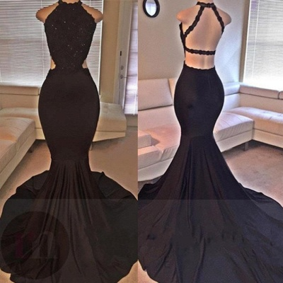 Backless Mermaid Lace Sleeveless Black Long Prom Dresses ly149_1