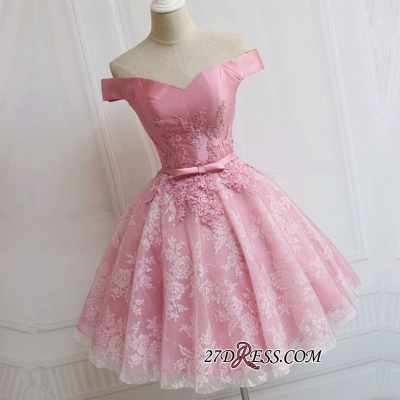A-line Bowknot Off-the-Shoulder Pink Elegant Appliques Homecoming Dress_1
