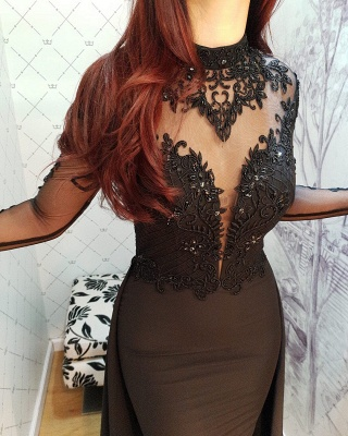 Modern Black Lace Long Sleeve Evening Dress   Detachable Train Prom Gown_3