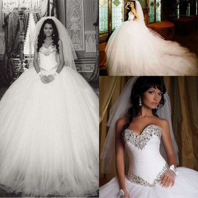 Glamorous Ball Gown Tulle Wedding Dress 2020 Crystals White Court Train_2