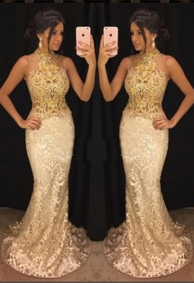 Elegant High-Neck Lace Evening Gowns   2020 Mermaid Prom Gowns_1