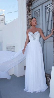 Elegant Sweetheart Sleeveless 2020 Prom Dress   White A-Line Evening Gowns With Panel Train BC1798_1