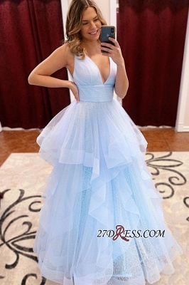 Sky-blue V-neck Tiered Sequined-Tulle Straps Sash Ruffles A-line Prom Dress