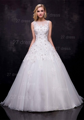 Modern Lace Appliques Wedding Dress Tulle Court Train_1
