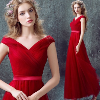 Newest Red Off-the-shoulder A-line Prom Dress 2020 Lace-up Floor-length_4