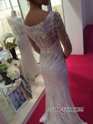2020 Lace Buttons Mermaid Appliques Crystal Long-Sleeves Elegant Wedding Dress_1