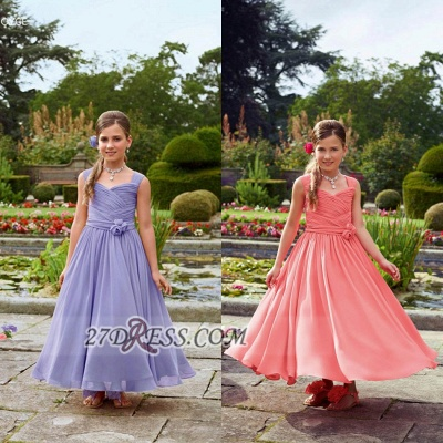 Lovely Sleeveless Chiffon Floor-length Girl Pageant Dress With Flower_3