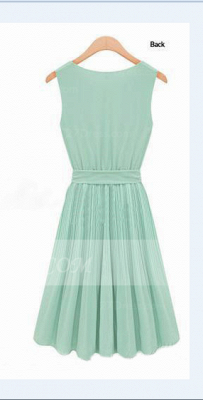 Cocktail Short Green Homecoming Dresses with Light 2020 Jewel Sleeveless Chiffon Ruffles Bow Sash Simple Gowns_2