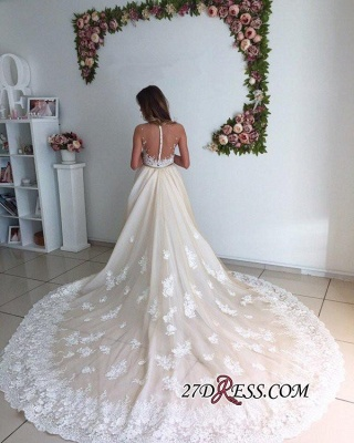 Mermaid Gorgeous Detachable-Cathedral-Train Tulle Lace Wedding Dresses_3