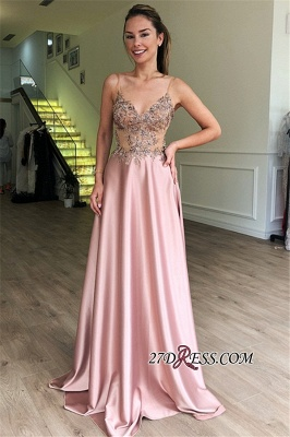 Spaghetti-Straps A-Line Evening Dresses | Pink Sleeveless See-Through Appliques Cheap Prom Dresses_2
