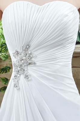 Newest Strapless White Beadings 2020 Wedding Dress A-line Sweep Train_3