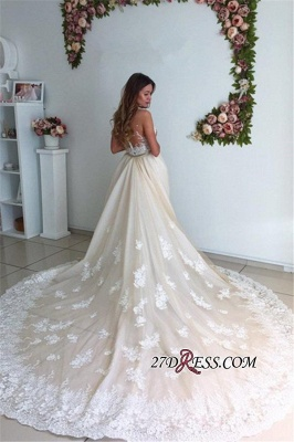 Mermaid Gorgeous Detachable-Cathedral-Train Tulle Lace Wedding Dresses_4