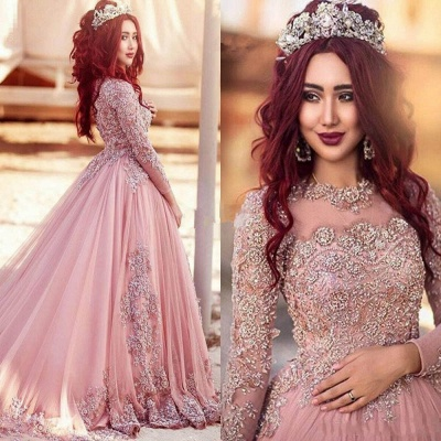 Gorgeous Long-Sleeve Arabic Style Lace Appliques Tulle Evening Dress_3