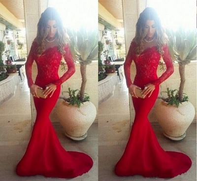 Sexy Red Lace Appliques Mermaid Prom Dress 2020 Sweep Train Long Sleeve_2