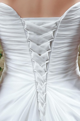 Newest Strapless White Beadings 2020 Wedding Dress A-line Sweep Train_4