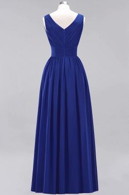 Gorgeous V Neck A-Line Sleeveless Evening Gown   2020 Ruched Floor-Length Zipper Prom Dress On Sale_2