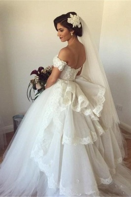 Elegant Sweetheart Tulle Wedding Dresses Tiered Lace Bridal Gowns_1
