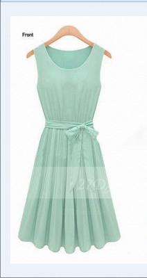 Cocktail Short Green Homecoming Dresses with Light 2020 Jewel Sleeveless Chiffon Ruffles Bow Sash Simple Gowns_1