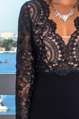 Sexy Lace Appliques Long Sleeves Mermaid Evening Gown | V-Neck Front Split Black Prom Dress On Sale BC0641_4